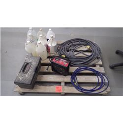 Moto Master battery charger / assorted cleaners / misc tools and tool box / approx 50' industrial H.