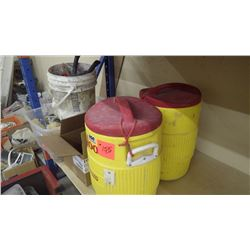 2 boxes brooms and brushes (no handles) plus 2 Igloo industri2 al water coolers (5 gallon)