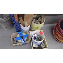 Variety of wood wedges / new garden hose attachments and 165 05 50 mtr measure tape