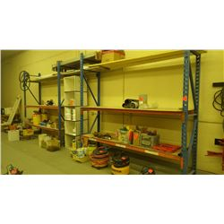 H.D. pallet racking with 4 frames, 8 - 10' bars and approx 20 - 8' bars and planks
