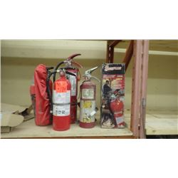 4 charged plus 1 not charged fire extinguishers