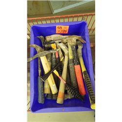 Tub with assorted hammers (carpenter and brick hammers, weldding chipping hammers)