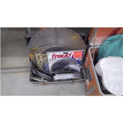 Large tool box with newer welding jacket, 2 coffee makers, new and used masonry and wood working saw