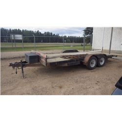 Approx 16' Tandem axle trailer with ramps and winch. Good rubber. Just needs 20 mins of spray paint