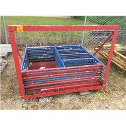 Ten 5' Scaffold frames & Scaffold rack