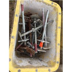 Bin of Twenty Five scaffold screw jacks