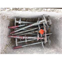 Bin of Seventeen scaffold screw jacks