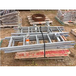 Pallet with Ten scaffold ladders and platforms