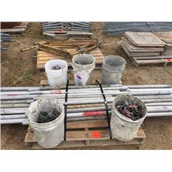 Pallet of scaffold tubes and clamps