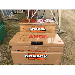 Two Knaack job site boxes with contents