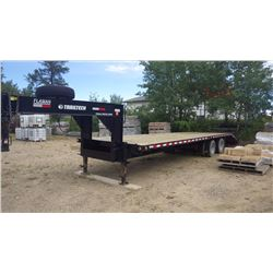 30 foot Flaman Trail Tech Tandem Axle Dual wheel flat deck beavertail trailer with ramps 23,000 LB G