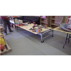 Heavey duty Metal work bench on wheels with plywood top