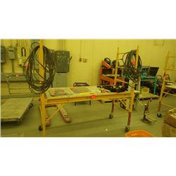 Adjustable metal shelving, work platform on wheels
