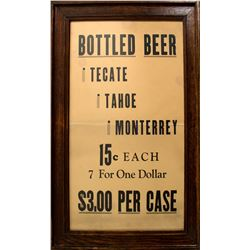 Framed Tecate Tahoe Bottled Beer Broadside (Union, Nevada)