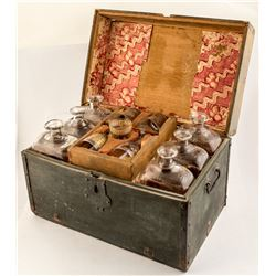 Early Glass Traveling Box with Bottles & Etched Glasses