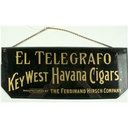 El Telegrafo Havana Cigars Reverse Glass Sign