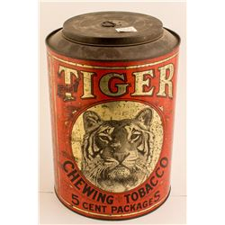 Tobacco Tin: Round Red Tiger Chewing Tobacco