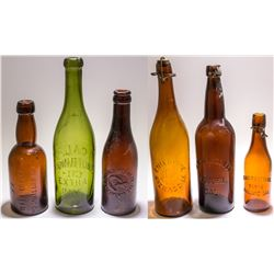 Collection of California Embossed Beer Bottles