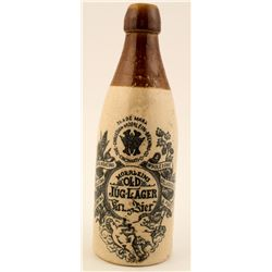 Gorgeous Pictorial Crockery Beer Bottle