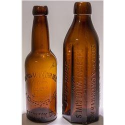 2 American Beer Bottles