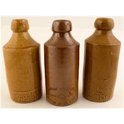 Three Crockery Ginger Beer Bottles