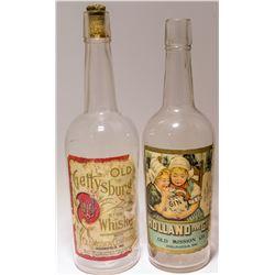 2 New York  Paper Label Liquor Bottles