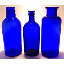 3 Large Cobalt Bottles