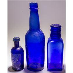 Group of Three Cobalt Blue Bottles