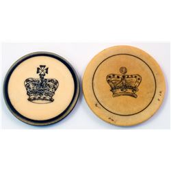 Two Choice Ivory Gaming Chips with Crowns