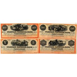 Very Rare Peoples National Bank Certificates of Deposit Used as Scrip (4 Denominations)