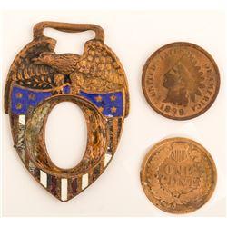 Patriotic Indian Head Penny Shield FOB