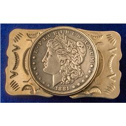 1881 Morgan Silver Dollar Belt Buckle