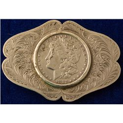 Scrolled Edge Oval 1882 S Morgan Silver Dollar Western Buckle