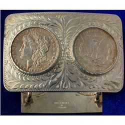 Western Belt Buckle with Two 1885 Morgan Silver Dollars
