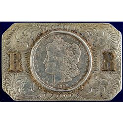 """RR"" 1889 Morgan Sterling Belt Buckle"