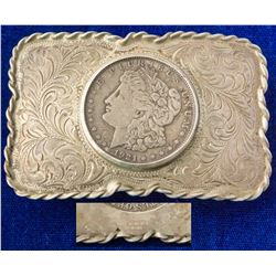 Roped Border 1921 S Morgan Silver Dollar Western Belt Buckle