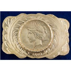 1922 Peace Dollar Etched Vintage Belt Buckle