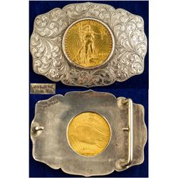 1909 $20 Gold Piece Belt Buckle