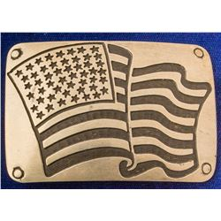 American Flag in the Wind Western Silver Belt Buckle