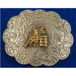 Barrel Racing Cowboy Western Belt Buckle