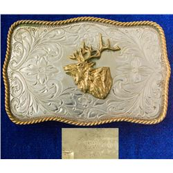 Brass Elk Head Western German Silver Belt Buckle
