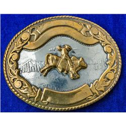 Bucking Bull and Cowboy Western Belt Buckle