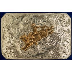 Cowboy on Bull Belt Buckle