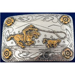Cowboy Roping Calf Belt Buckle