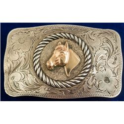 Etched Vintage Horse Head Silver Belt Buckle