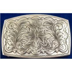 Floral Engraved Western Belt Buckle