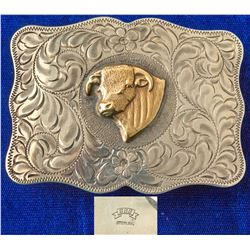Gold Bulls Head Western Etched Belt Buckle