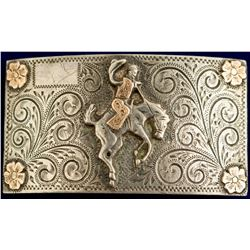 Gold Cowboy on Horse Western Buckle