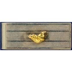 Gold Nugget on Silver Money Clip