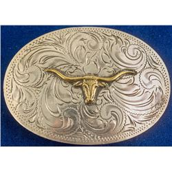 Gold Steer Head Western Silver Buckle